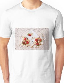 Strawberries cereals and chocolate flakes inside the plain yogurt Unisex T-Shirt