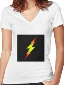 Bolt Gradient - Lime Yellow | Red | Black Women's Fitted V-Neck T-Shirt