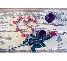 Two glasses of red wine and a heart with corks Photographic Print