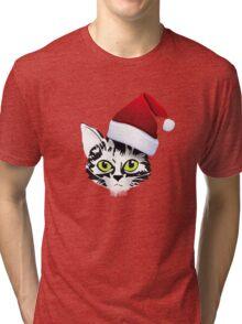 sante katze christmas ugly design  Tri-blend T-Shirt