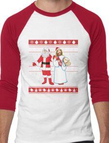 Santa and Jesus Ugly Christmas Sweater Design For Having Fun Men's Baseball ¾ T-Shirt