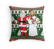 Santa and Jesus Ugly Christmas Sweater Design For Having Fun Throw Pillow