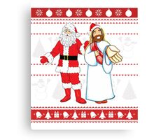 Santa and Jesus Ugly Christmas Sweater Design For Having Fun Canvas Print