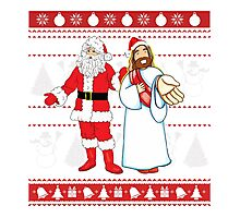 Santa and Jesus Ugly Christmas Sweater Design For Having Fun Photographic Print