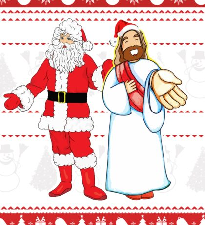 Santa and Jesus Ugly Christmas Sweater Design For Having Fun Sticker