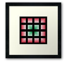 Blocks Gradient - Green | White | Red | Black Framed Print