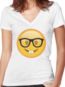 Nerd Glasses Buckteeth Emoji Design Women's Fitted V-Neck T-Shirt