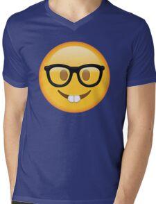 Nerd Glasses Buckteeth Emoji Design Mens V-Neck T-Shirt