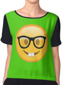 Nerd Glasses Buckteeth Emoji Design Chiffon Top