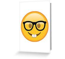 Nerd Glasses Buckteeth Emoji Design Greeting Card
