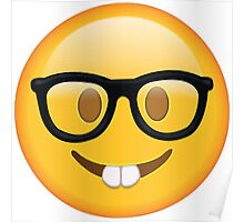 Nerd Glasses Buckteeth Emoji Design Poster