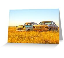 Side by side ...... Two Old Holdens.... Greeting Card
