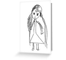 little Girl- child's drawing Greeting Card