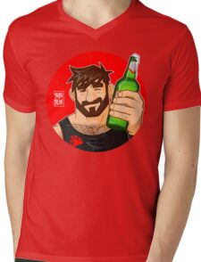 ADAM LIKES BEER Mens V-Neck T-Shirt