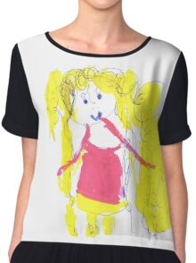 The girl with golden hair - child's drawing Chiffon Top