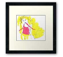 The girl with golden hair - child's drawing Framed Print