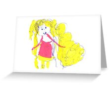 The girl with golden hair - child's drawing Greeting Card