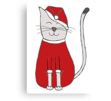 sweet christmas santa claus red cat gift Canvas Print