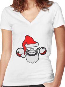 weihnachtsmann santa claus geschenk mütze weihnachten winter nikolaus wahnsinnig gesicht comic cartoon mörder horror halloween design cool crazy verrückt verwirrt blöd dumm komisch gestört  Women's Fitted V-Neck T-Shirt