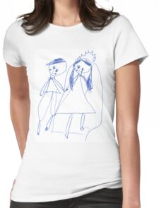Boy and girl - child's drawing Womens Fitted T-Shirt