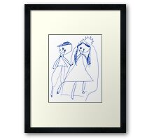 Boy and girl - child's drawing Framed Print