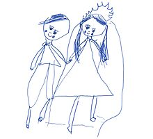 Boy and girl - child's drawing Photographic Print