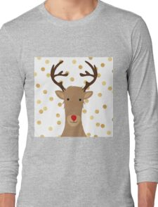 Rudolf the red nose reindeer, fun,hand painted,christmas,gold polka dots, modern,trendy Long Sleeve T-Shirt