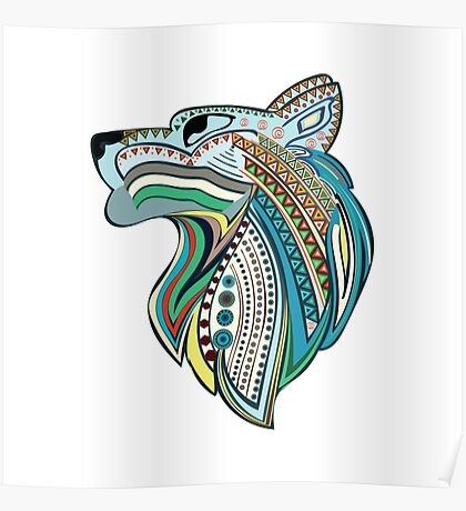 Vintage wolf head with colorful ethnic ornament Poster