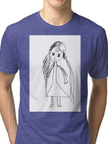 little Girl- child's drawing Tri-blend T-Shirt