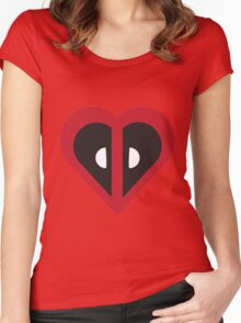 Deadpool Heart Marvel Women's Fitted Scoop T-Shirt