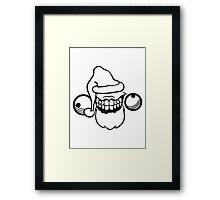 weihnachtsmann santa claus geschenk mütze weihnachten winter nikolaus wahnsinnig gesicht comic cartoon mörder horror halloween design cool crazy verrückt verwirrt blöd dumm komisch gestört  Framed Print