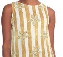Gold,glitter,glam,stripes,vertical,white,rustic,modern,trendy,pattern,flowers Contrast Tank