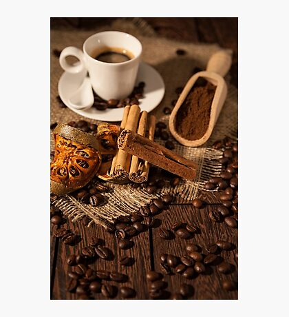 Cup of coffee with cinnamon and dried orange fruit Photographic Print