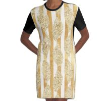 Gold,glitter,glam,stripes,vertical,white,rustic,modern,trendy,pattern,flowers Graphic T-Shirt Dress