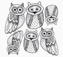 Cute Owl Sketch Doodle  pattern T-Shirt