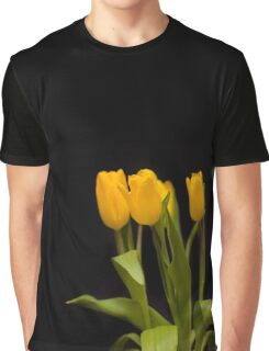 Yellow tulips on a black background Graphic T-Shirt