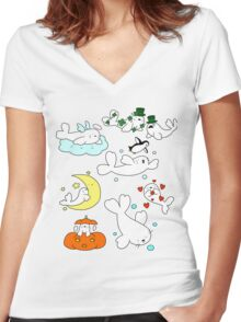 Baby Harp Seals! Women's Fitted V-Neck T-Shirt
