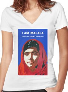 I AM MALALA Women's Fitted V-Neck T-Shirt