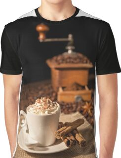 Coffee cup with whipped cream and coffee grinder on background Graphic T-Shirt