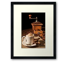 Coffee cup with whipped cream and coffee grinder on background Framed Print