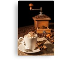 Coffee cup with whipped cream and coffee grinder on background Canvas Print