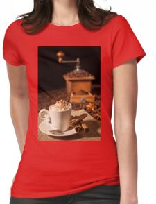 Coffee cup with whipped cream and coffee grinder on background Womens Fitted T-Shirt