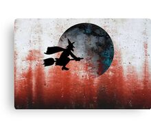 Halloween....A witch and her broomstick Canvas Print