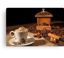 Coffee cup with whipped cream, cocoa powder and star anise Canvas Print