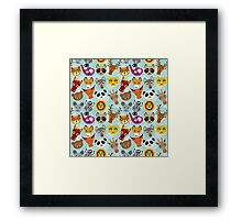 Seamless pattern with funny cute animal face on a blue background.  Framed Print