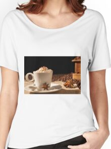 Close-up of coffee cup with whipped cream and star anise Women's Relaxed Fit T-Shirt