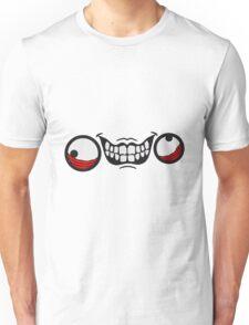 wahnsinnig gesicht comic cartoon design cool crazy verrückt verwirrt blöd dumm komisch gestört  Unisex T-Shirt