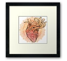 Image of heart in steampunk style. Watercolor background with flowers Framed Print