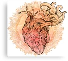Image of heart in steampunk style. Watercolor background with flowers Canvas Print