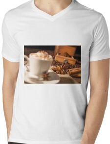 Close-up on star anise and cinnamon sticks with coffee cup Mens V-Neck T-Shirt